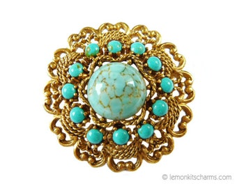 Vintage Emmons Faux Turquoise Brooch, Jewelry 1960s 1970s, Glass Aqua Cabochon, Scroll, Matte Goldtone, Victorian Native American Style