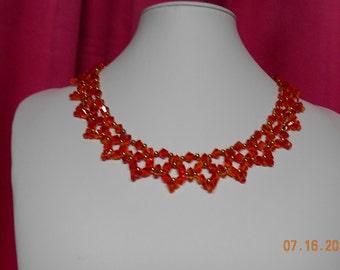 """Handmade orange swarovski necklace 19""""L"""