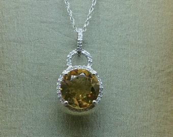 Semi Precious Gemstone; Semi Precious Gemstone Necklace; Diamond Pendant Necklace; Vintage Necklace; Vintage Pendant
