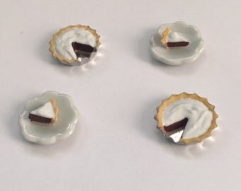 Miniature Dollhouse Chocolate Pudding pie with Cream on top