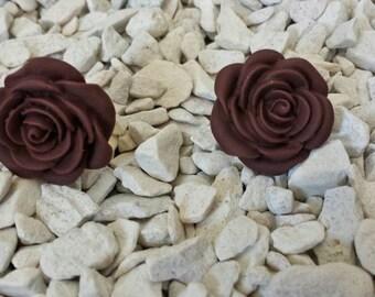 Rose studs, rose earrings, plum rose studs, floral earring, plum rose earrings, purple studs, flower earrings, flower studs,floral studs