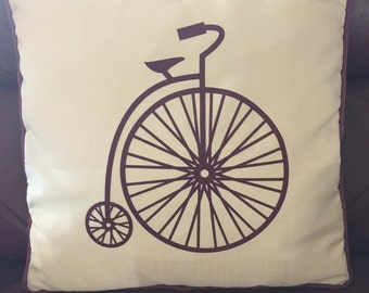 Penny farthing cushion cover