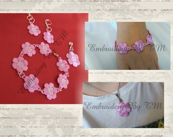 Earrings,pendant and components for bracelet lace flowers-FSL-4x4 hoop