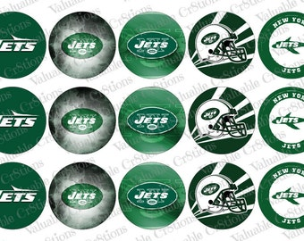 """New York Jets Bottlecap Images, 1"""" Circle Images, 4x6 Collage Sheet, Football Images, Digital Collage Sheet, Cupcake Toppers"""