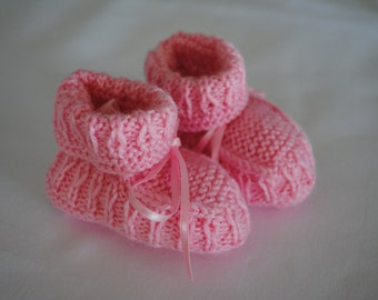 Hand Knitted Pink Baby Booties