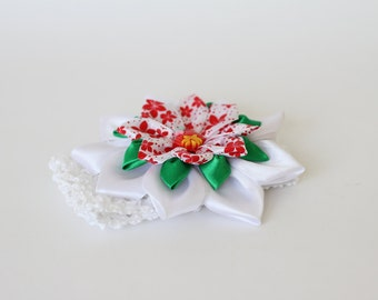 Crochet headband with Kanzashi fabric flower.Crochet headband with flower.White and red flower.Crochet headband for baby. Hair accessories