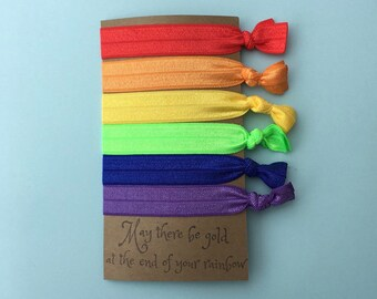 Party Favor - Rainbow Fold Over Elastic (FOE) Hair Tie With Quote On It - Perfect For Party Favors, Stocking Stuffers, Working Out, Or
