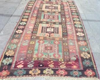 Mint green handwoven vintage kilim rug - 10 x 5 ft