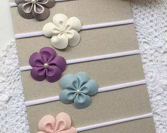 Baby girls headband - Single faux leather flower white nylon headband or hair clip - choose colour