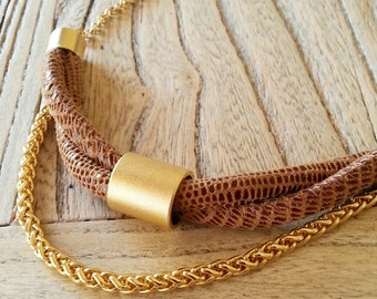 cord necklace,  geometric necklace, gold necklace, unique necklace,  everyday necklace.