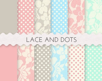 Lace and Dots, Lace Digital Paper, 12 SHEETS 12x12 Inches Digital Scrapbooking Paper, Lace and Dots, Digital Papers Sheets