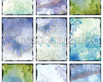 Doux Sentiments 9 ACEO - ATC Cards - Backgrounds Digital Collage Sheet A4 Download and Print