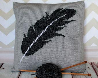 Beginner Knitting Pattern PDF Download - Feather Pattern/Motif Pillow Cushion Cover