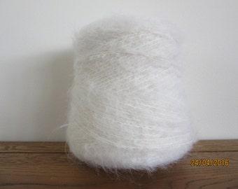 White Mohair Yarn Mohair/Wool/Nylon 78/13/9 500g Cone