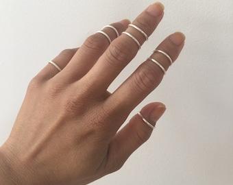Midi Ring Sterling Silver 925 (4 rings), Midi Rings, Sterling Silver Rings, 4 Midi Rings, Ring Bands, Simple Ring Bands