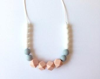 SALE*** GEOMETRIC Peach Geometric Silicone Teething Necklace - Teething Necklace, Nursing Necklace, Organic, Eco-friendly, Baby Shower