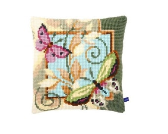 Cross Stitch PILLOW Cushion Kit DECO BUTTERFLIES 959 Vervaco Quickpoint
