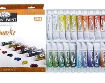 ROYAL LANGNICKEL Gouache Paint Tubes Poster Watercolor Art Supplies 24pc Set Painting