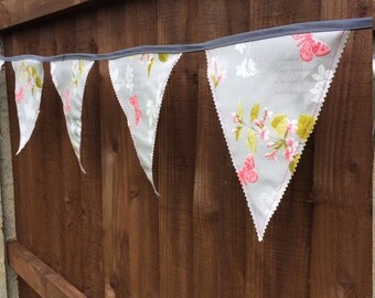 Grey butterflies outdoor, garden bunting made from oil cloth, water resistent