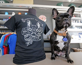 French Bulldog Sugar Skull T-shirt with Glow in the dark ink!
