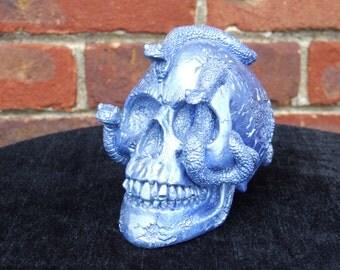 Hand Painted Sky Blue Medusa Snake Skull
