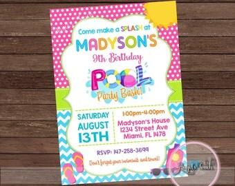 Pool Party Invitation, Pool Birthday Invitation, Pool Birthday Party Invitation, Girls Pool Party Invitation, Pool  Digital File.