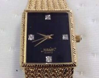 80s Xavier Quarts rhinestone / diamond wrist watch elegant dark Gold toned