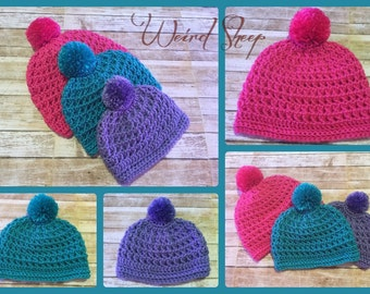 Textured Beanie with Pompom!!