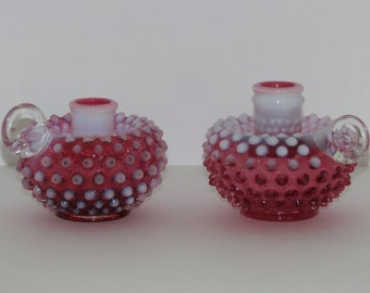 Fenton Cranberry Opalescent Hobnail Candle Holders