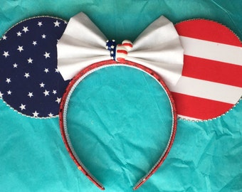 Patriotic Minnie Ears  usa mickey ears