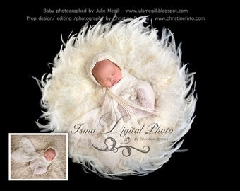 Prop Beautiful Digital baby Newborn Photography ( Feather Nest ) with white wool and black background
