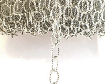 925 Sterling Silver Chain Oval Textured Cable Chain Oxidized By Foot #407320OX