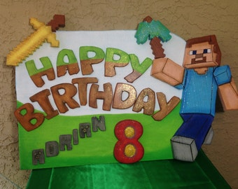 Happy Birthday minecraft poster. Minecraft parties supplies. Party decorations and supplies