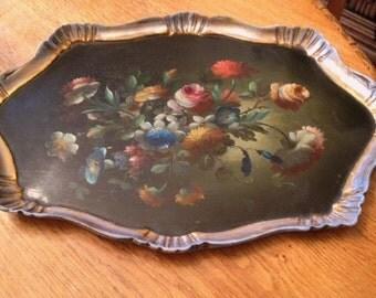 Vintage Hand Painted Tole Italian Tray