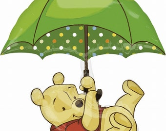FAST SHIP Umbrella Winnie the Pooh Baby Shower XL Balloons, Winnie the Pooh Party Balloons, Winnie Pooh Party Supplies, Pooh Birthday