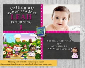 PRINTED or Digital Super Readers Birthday Invitations, Super Why Party Supplies, Super Readers Printable Invitations, Super Why Birthday