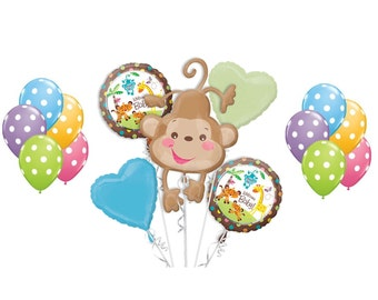 FAST SHIP Welcome Baby Monkey Baby Shower Balloons, Safari Monkey Party Balloons, Jungle Foil Balloons, Cute Monkey Party Supplies