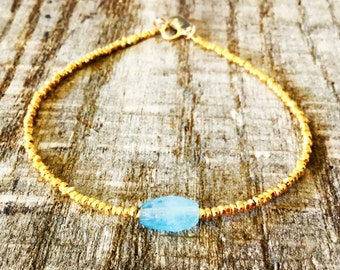Gold Nugget Bracelet with Raw Aquamarine/Boho/Stacking Bracelet