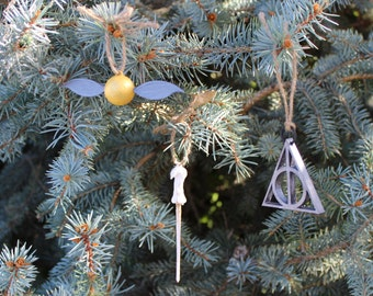 Harry Potter Christmas or Everyday Ornaments set of six Snitch, Lord Voldemort's Wand and Deathly Hallows