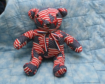 Red, White, And Blue Wavy Stuff Teddy Bear
