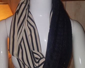 Lace scarf, striped scarf, infinity scarf, eternity scarf, lightweight scarf , evening scarf, circle scarf, accessories, gift idea