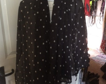 Black with white hearts, light wrap for spring