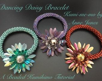 Dancing Daisy Bracelet Beaded Kumihimo Tutorial