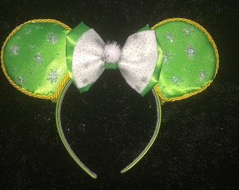 Tinker Bell Inspired  Mouse  Ears with glow in the dark bits!