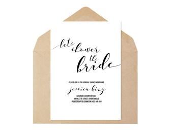 Watercolour/Block Colour Script Style Simplistic Bridal Shower Invite Printable Bachelorette Party Hens Night