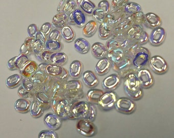 Czech Glass, 'One Bead', 1 Hole, 1.5 x 5 mm, Crystal AB, 3 grams