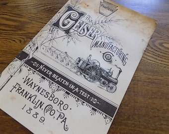 Vintage Book - The Geiseer Manufacturing Co. - Steampunk Steam Engines
