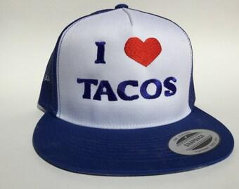 I Love Tacos hat (blue)