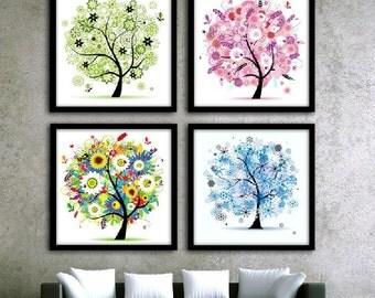 Cross Stitch Kit Embroidery Set Four Season Tree