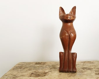 Hand Carved Wood Cat Sculpture // Cat Lover Gift